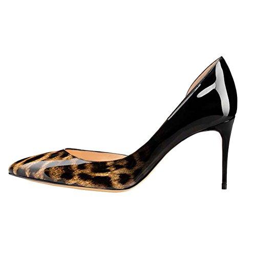 EKS Damen Fllosace Stilettos spitze Zehe Pumpen-Schuhe Schwarz-Leopard-Lackleder
