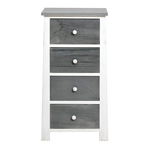 Rebecca srl cassettiera comodino 4 cassetti legno grigio bianco vintage arte povera camera da letto bagno (cod. re4328)