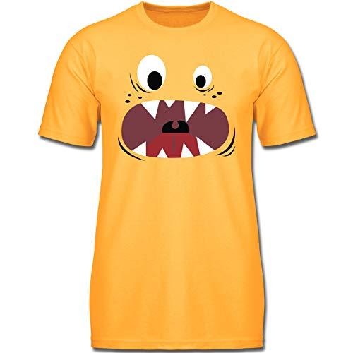 Karneval & Fasching Kinder - Monster Kostüm Gesicht - 128 (7-8 Jahre) - Gelb - F130K - Jungen Kinder T-Shirt