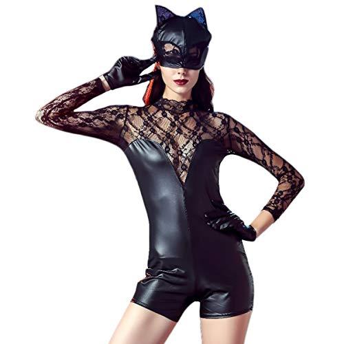 pler, Catwoman Kostüm, Cosplay Kostüm, Sexy Dance Kostüm, Frauen Weihnachten Halloween Bühnenkleidung,Black-M ()