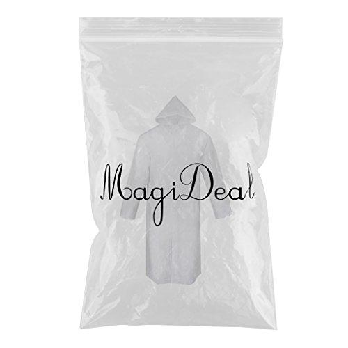 MagiDeal Pioggia Poncho Impermeabile Clear Uomo Donna Outdoor Escursionismo Viaggi - Riutilizzabile Bianco