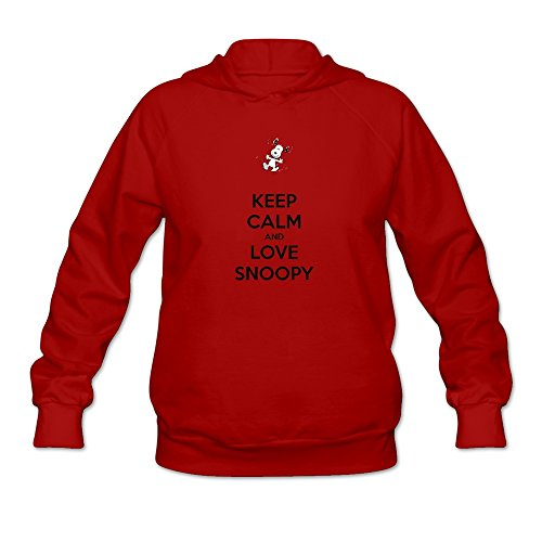 GLYCWH Women's Keep Calm And Love Snoopy Hoodie Red US Size M 100% Organic Cotton