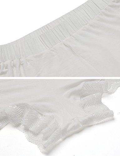 Ekouaer Damen Shorty 2-tlg. Schlafanzug Baumwolle Pyjama Set Kurz Nachtwäsche Kurzarm Shirt & Shorts unifarbe schwarz/grau/weiss Weiß