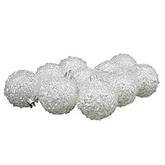 Christmas Concepts® Paquete de 10 – 60mm Chucherías de Árbol de Navidad – Chispas Iridiscentes de Chispa Blanca