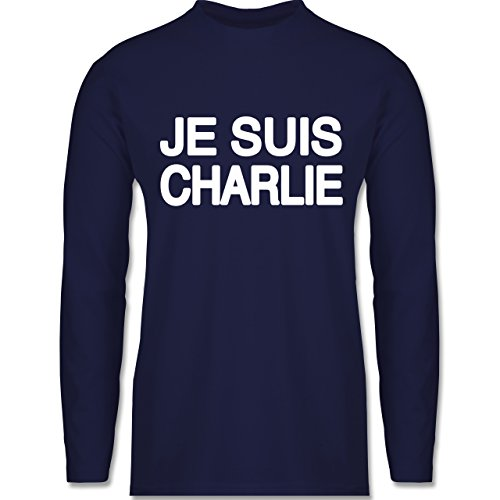 Statement Shirts - JE SUIS CHARLIE - Anschlag Charlie Hebdo Protest - Longsleeve / langärmeliges T-Shirt für Herren Navy Blau