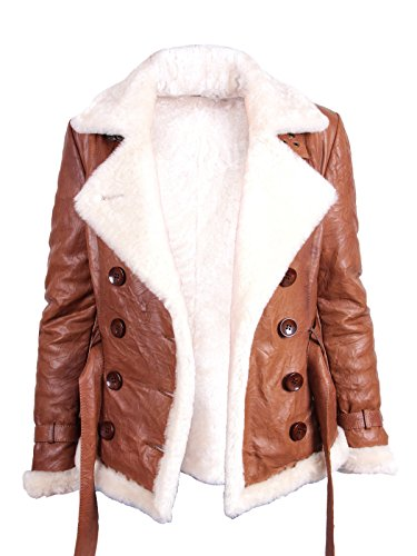 Frauen Lammfell hallbraun Leder Fliegen Jacken Mantel (Medium 10)
