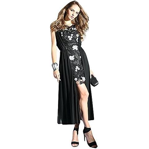 Oulu Mujeres 2016 Fraccionamiento Nuevo diseño de moda vestido de Negro con las flores blancas 272702