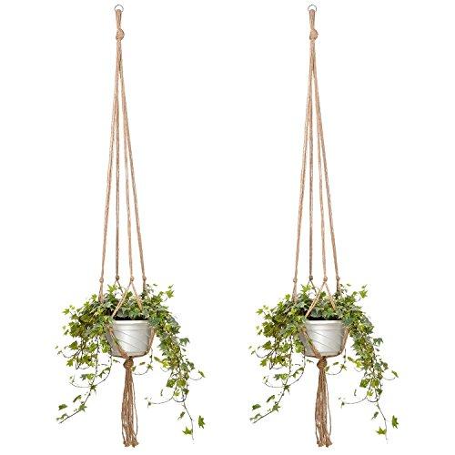 Doitsa 2 Stück Blumenampel Seil Pflanze Aufhänger Pflanzenhalter Topfpflanzen Hängeampel Blumentöpfe Seil für Indoor Outdoor Dekoration