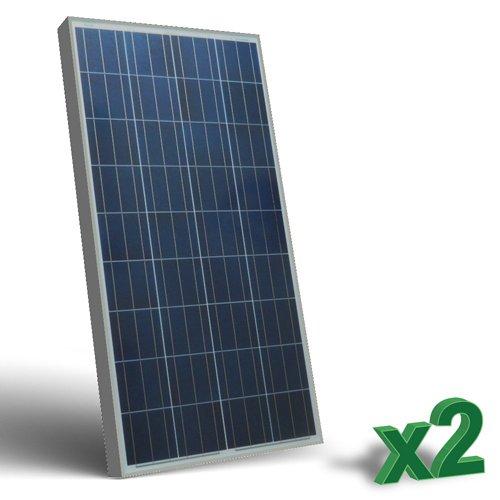 Set di 2 Pannelli Solari Fotovoltaici 150W 12V tot. 300W Policristallino adatto per Camper Caravan Barca Baita