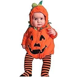 POLP Disfraz Halloween Bebe Monos Unisex Bodies Bebe Estampado Calabaza Mameluco con Capucha Bebe Niña Disfraz Halloween Party Ropa Bebe Niño Invierno Recién Nacido Invierno Otoño