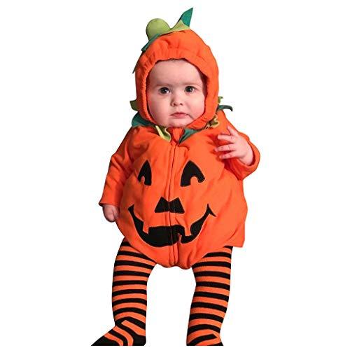 Cheerleader Kostüm Reißverschluss -  Romantic Halloween Kostüme Kinder Baby Kleidung Langarm Jungen Mädchen Kürbiskostüme Teufel Gedruckt Hoody Strampler mit Reißverschluss Neugeborenen Overall Baby-Strampler für Jungen Mädchen