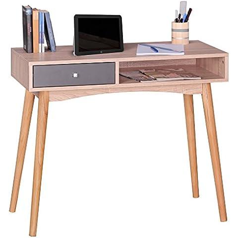 FineBuy escritorio con mesa de dise–o de la oficina del caj—n de Sonoma / gris mesa Mesa de ordenador moderna con cajones para el almacenamiento de 90 cm de escritorio de ordenador para el joven mesa de ordenador port‡til de tama–o redu
