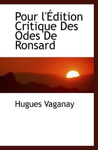 Pour l'Édition Critique Des Odes De Ronsard
