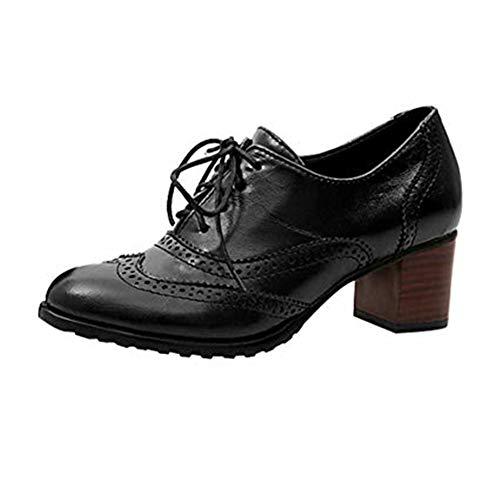 High Block Heel Oxford Casual Halbschuhe Leder Chunky Absatz Wingtip Schnürsenkel Dress Up Stiefel Schwarz Braun Beige 34-43 Schwarz 39 ()
