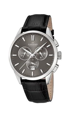 Candino Men'Herren Quarzuhr mit Grau Dial Chronograph Anzeige und schwarzem Lederarmband C4517/2