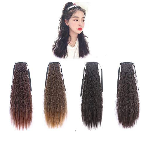Würfel Kostüm Flauschige - Axroad Mall Schachtelhalm Lange lockige Haare unsichtbare natürliche Riemchen Flauschige Mais Hot Whisker Pferdeschwanz - 4er Pack