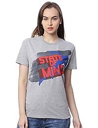 Wolfpack State of Mind Grey Melange Round Neck Half Sleeves 100% Cotton Girls/Womens T-Shirt