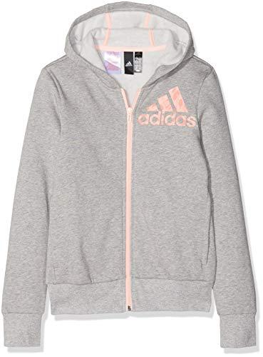 adidas Mädchen Graphic Full Zip Kapuzen-Jacke, Medium Grey Heather/Haze Coral, 170 - Mädchen Kapuzenjacke Jacke