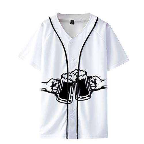 Oktoberfest Herren T-Shirt V-Ausschnitt KnöPfen Bier Drucken Baseball Tops -