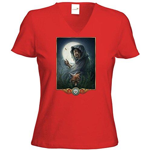 getshirts - Das Schwarze Auge - T-Shirt Damen V-Neck - Götter - Phex Rot