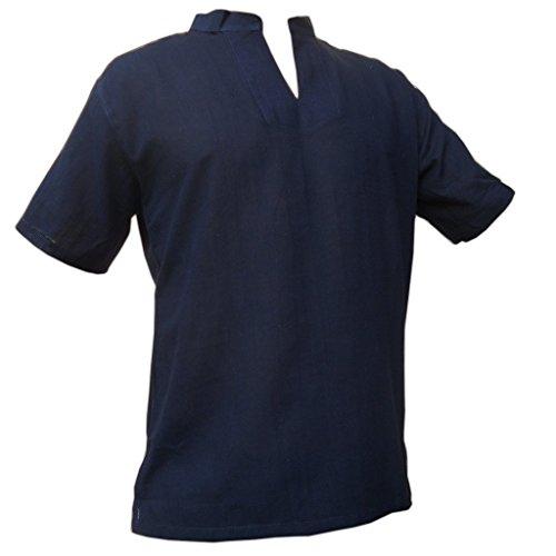 PANASIAM Sommerhemd, RZI-02, ohne Knopf, schwarz, L, kurzarm (Kurzarm-freizeithemd)