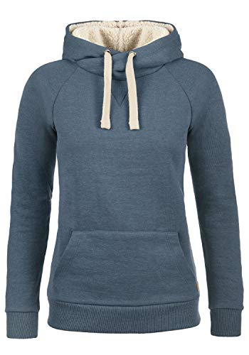 BlendShe Julia Pile Damen Hoodie Kapuzenpullover Pullover mit Kapuze, Größe:L, Farbe:Ensign Blue mit Teddy-Futter (70260)