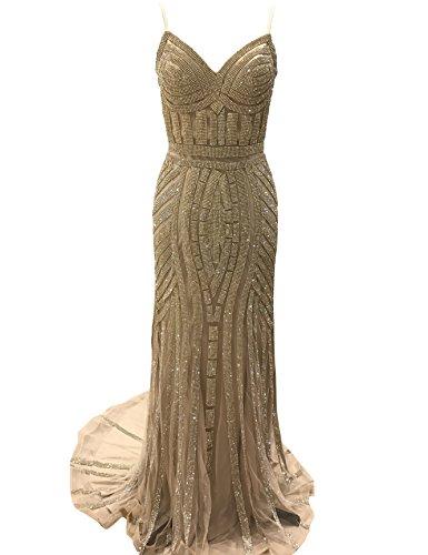 Changjie Damen Bodenlang Mermaid Tuell Abendkleider Perlen Paillette Ballkleid Partykleider