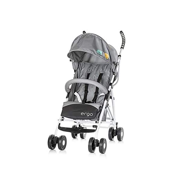 Chipolino pram Ergo 2018, Foldable, 5-Point Safety Belt Front Bracket, Colour:Grey Chipolino Backrest can be adjusted in 2 seat positions by means of belt clip easy to fold; extra long folding top with large visor Handle for easy carrying of the pram 1
