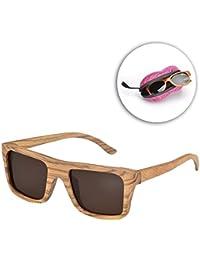 Vandot Unisex Sonnenbrille Holz Wood UV400 Sunglasses Retro Vintage Wayfarer Brille Moderne Modische Sportbrillen Glasses
