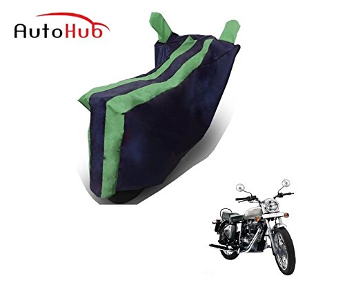 Auto Hub Two Wheeler Body Cover For Royal Enfield Bullet Electra (Black-Green)  available at amazon for Rs.269