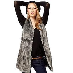 Koly Chaleco de la piel del Faux de las mujeres Chaqueta sin mangas Cuerpo de abrigo de invierno Chaleco largo de chaleco chaquetas para mujer Abrigo sin mangas Outwear (L, Gris)