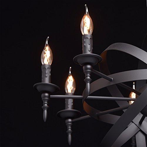 Rustikale Pendelleuchte mittelalterlicher Kronleuchter mit Kerzen 8-flammig Landhausstil - 9