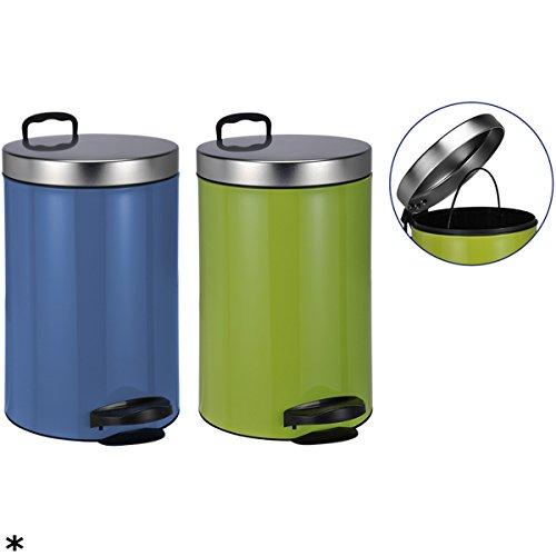 Treteimer Luxus, 14 Liter, mit Kunststoffeinsatz, blau: Mülleimer Abfalleimer Tretmülleimer Pedaleimer Müllsammler blau