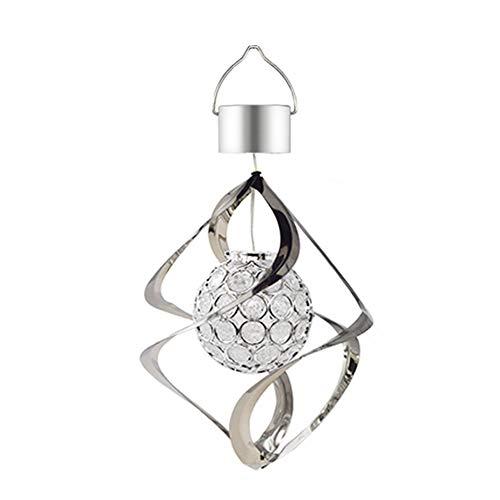 Cutogain Solar-Windspiel mit LED-Farbwechsel, Hängeleuchte, wasserfest, spiralförmig