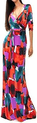Mujeres de Vestido con Marga Largo V-Cuello largos Vestido De Fiesta Moda Playa Vestido de impresion