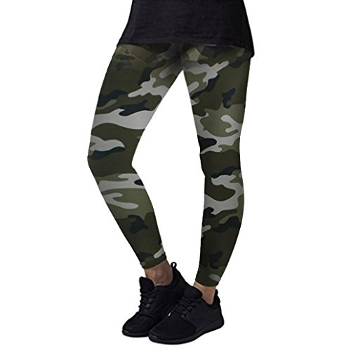 Lenfesh Fitness Pantalones deporte Camuflaje Mujer