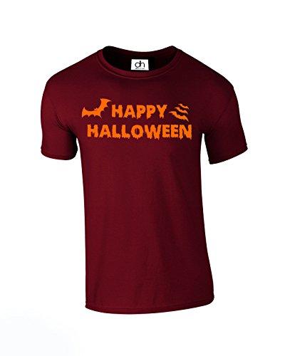 üm Kürbis Bloody Skelett Pop Punk Halloween Musik Unisex 4Farben Tshirt Grössen: XS-3X L (Happy, T-Shirt) Gr. XXL, burgunderfarben ()