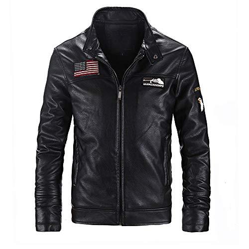 MIRRAY Herren Lederjacke Herbst Winter Casual Langarm Solide Stehkragen Zipper America Flag Coat