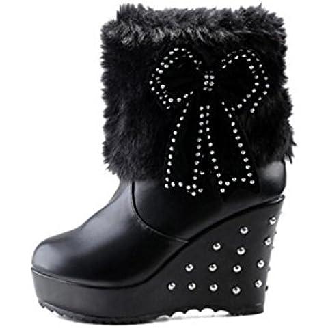 SHIXR Arco damas invierno nieve botas con suelas gruesas remache botas cortas peluche blanco/negro/amarillo , black , 38