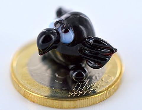 Rabe Mini Schwarz - Miniatur Figur aus Glas Schwarzer Rabe - Glasfigur Glastier Setzkasten Vitrine