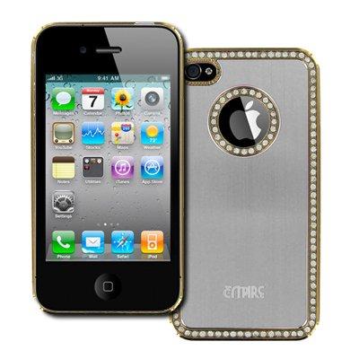 Empire gebürstet Metall Strass Hart Tasche Hülle Cover für Apple iPhone 4/4S-Silber -