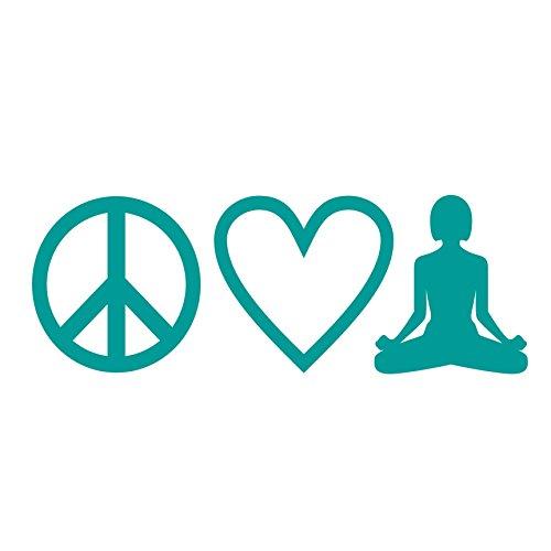 Peace Love Yoga Aufkleber Meditation Laptop sticker Autoaufkleber (Türkis)