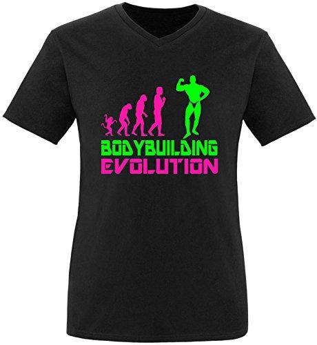 EZYshirt® Bodybuilding Evolution Herren V-Neck T-Shirt Schwarz/Pink/Neongr
