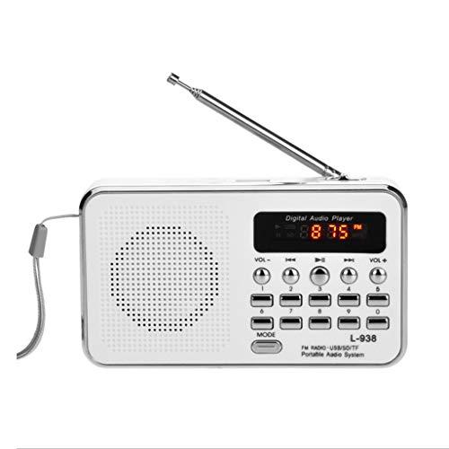 PIAOLING Radio Portable Haut-Parleur extérieur TF/Carte Micro SD de Haut-Parleur extérieur de Carte FM portative de Radio FM Digital Facile à Utiliser (Color : White)