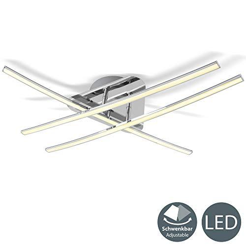 Plafoniera LED da soffitto, Lampadario moderno e minimalista, luce calda 3000K, 2400 Lm, lampada da soffitto per camera da letto, soggiorno, cucina, colore cromato, IP20