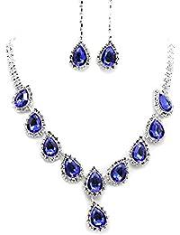 Rhinestone Chunky Pendiente Dangel Collar Gargantilla Yazilind de plata del cristal plateado azul determinado de la joyería de la Mujer