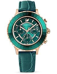 Swarovski Octea Lux Chrono Uhr, Damenuhr mit Rosé Vergoldetem Gehäuse, Funkelndem Zifferblatt, Swarovski Kristallen und Smaragdgrünem Lederarmband