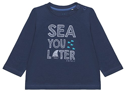 ESPRIT Baby-Jungen Langarmshirt RL1007202, Blau (Marine Blue 446), 92 (Marine-blau-kleidung)