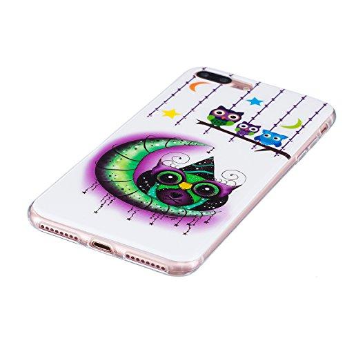 Custodia per iPhone 7 Plus 5.5,Cover per iPhone 7 Plus 5.5 Silicone,BtDuck Ultra Slim Creativo Nottilucenti Luminoso Flessibile TPU Morbido Silicone Protettiva Cassa Trasparente Fiore Design Crystal C #4