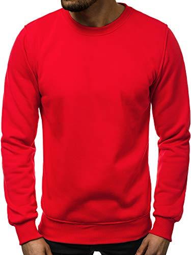 OZONEE Herren Sweatshirt Pullover Classic Basic Rundhals-Ausschnitt J. Style 2001-10 XL ROT